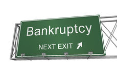 Bankruptcy road sign 3d illustration Royalty Free Stock Image