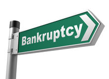 Bankruptcy road sign 3d illustration. Bankruptcy road sign 3d concept illustration on white background Stock Photos