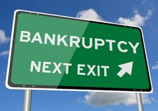 Bankruptcy signpost roadsign next exit blue sky stock photo