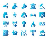Bankruptcy simple gradient icons vector set. Bankruptcy silhouette icons set. Isolated on white web sign kit of business. Crisis pictogram collection includes Stock Photo