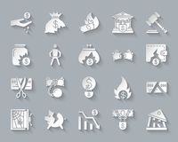 Bankruptcy simple paper cut icons vector set. Bankruptcy paper cut art icons set. Web sign kit of business. Crisis pictogram collection includes poverty, decline Stock Image