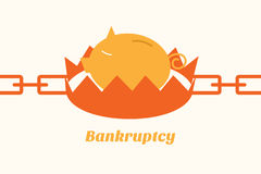 Bankruptcy situation piggy bank on trap Stock Photo