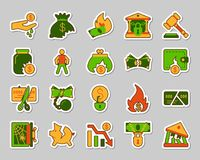 Bankruptcy patch sticker icons vector set. Bankruptcy sticker icons set. Web flat sign kit of business. Crisis pictogram collection includes decline, debt, crash Royalty Free Stock Photo