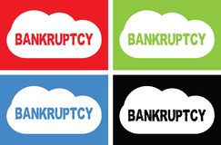 BANKRUPTCY text, on cloud bubble sign. Stock Photography