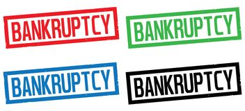 BANKRUPTCY text, on rectangle border stamp sign. Royalty Free Stock Photos