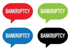 BANKRUPTCY text, on rectangle speech bubble sign. Royalty Free Stock Images