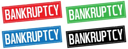 BANKRUPTCY text, on rectangle stamp sign. Royalty Free Stock Photos