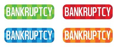 BANKRUPTCY text, on rectangle, zig zag pattern stamp sign. Stock Photography