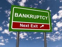 Bankruptcy. Text 'bankruptcy' in uppercase white letters on green highway style board with 'next exit stock illustration