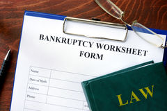 Bankruptcy worksheet form Royalty Free Stock Photo