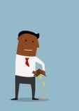 Bankrutt affärsman med den tomma plånboken Arkivfoton