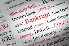 Bankrutt begrepp med svarta ord som är röda och arkivbild