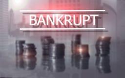 bankruttt begrepp Inskriften på den faktiska skärmen: Bankrutt royaltyfri foto
