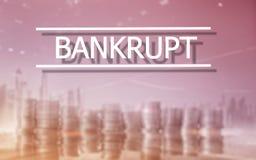 bankruttt begrepp Inskriften på den faktiska skärmen: Bankrutt royaltyfri bild