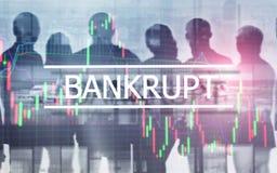 bankruttt begrepp Inskriften på den faktiska skärmen: Bankrutt arkivfoton