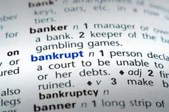 bankruttt definition arkivbild