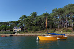 Crac`h river in Morbihan coast Stock Photos