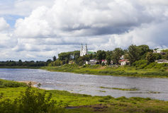 On the banks of the Daugava River. Sophia Cathedral. Polotsk. Belarus. Western Dvina River - River in the north of Eastern Europe, which flows through the royalty free stock photos