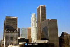 Banks in Downtown Los Angeles. LOS ANGELES - JULY 29: Panoramic of Downtown Los Angeles with many logos of several banks on top of the buildings on July 29, 2011 Royalty Free Stock Photo