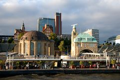 Banks of the Elbe in Hamburg Stock Photo