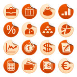 Banks & finance stickers. Set of banks and finance stickers Royalty Free Stock Photo