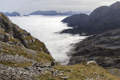 Banks of fog in the Austrian Alps Stock Photos
