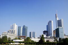 The banks of Frankfurt. Frankfurt skyline taken from the other side of the river Royalty Free Stock Photo
