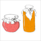 Banks with fruit jam. Tableware glass with jam. food vector illustration Stock Images
