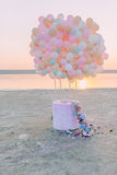 On the banks of the gentle balloons and flowers Stock Photo