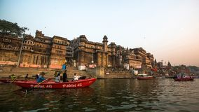 Banks on the holy Ganges river in the early morning. Royalty Free Stock Photography