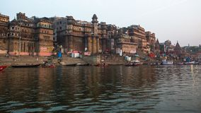 Banks on the holy Ganges river in the early morning. Royalty Free Stock Photo