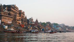 Banks on the holy Ganges river in the early morning. Stock Photo