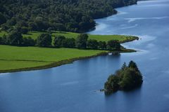 Banks and island on a river from Scotland Stock Images