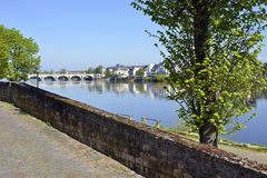 The banks of the Loire at Saumur Royalty Free Stock Photos