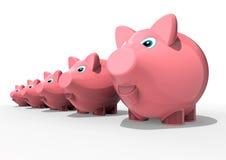 banks många som är piggy Fotografering för Bildbyråer