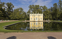 On banks of Mirror pond pavilion Upper bath. Tsarskoye Selo. Stock Photos