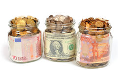 Banks with money, rubles, dollars, euros Stock Photography