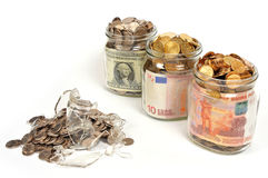 Banks with money, rubles, dollars, euros Stock Photo