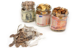 Banks with money, rubles, dollars, euros Stock Images