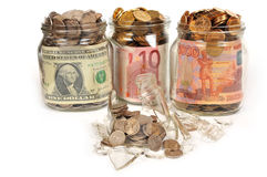 Banks with money, rubles, dollars, euros Stock Photos
