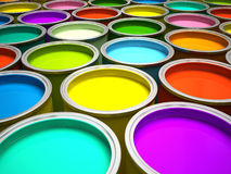 Banks of multicolored paint. 3D rendering Stock Photography