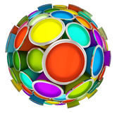 Banks of multicolored paint. In sphere 3D rendering Stock Photography