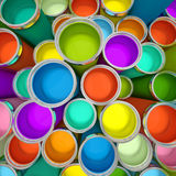 Banks of multicolored paint 3D Royalty Free Stock Image