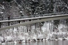 Ogre river in winter. Banks of Ogre river and bridge in winter city of Ogre, Latvija Royalty Free Stock Photos
