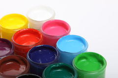 Banks of a paint with various colours Stock Photo