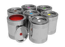 Banks with paints. 3d render of   banks with paints of different shades on a white background Royalty Free Stock Photo