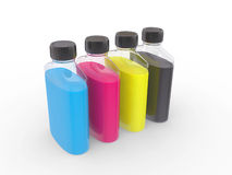Banks with  paints of CMYK colors Royalty Free Stock Image