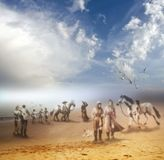 On the banks of paradise stock illustration