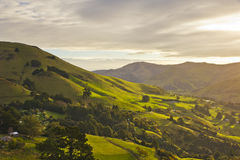 Banks Peninsula. Close to Christchurch this green landscape takes you to the famous Banks Peninsula, in New Zealand Stock Photos