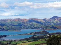 Banks Peninsula. In Canterbury of New Zealand Stock Photography